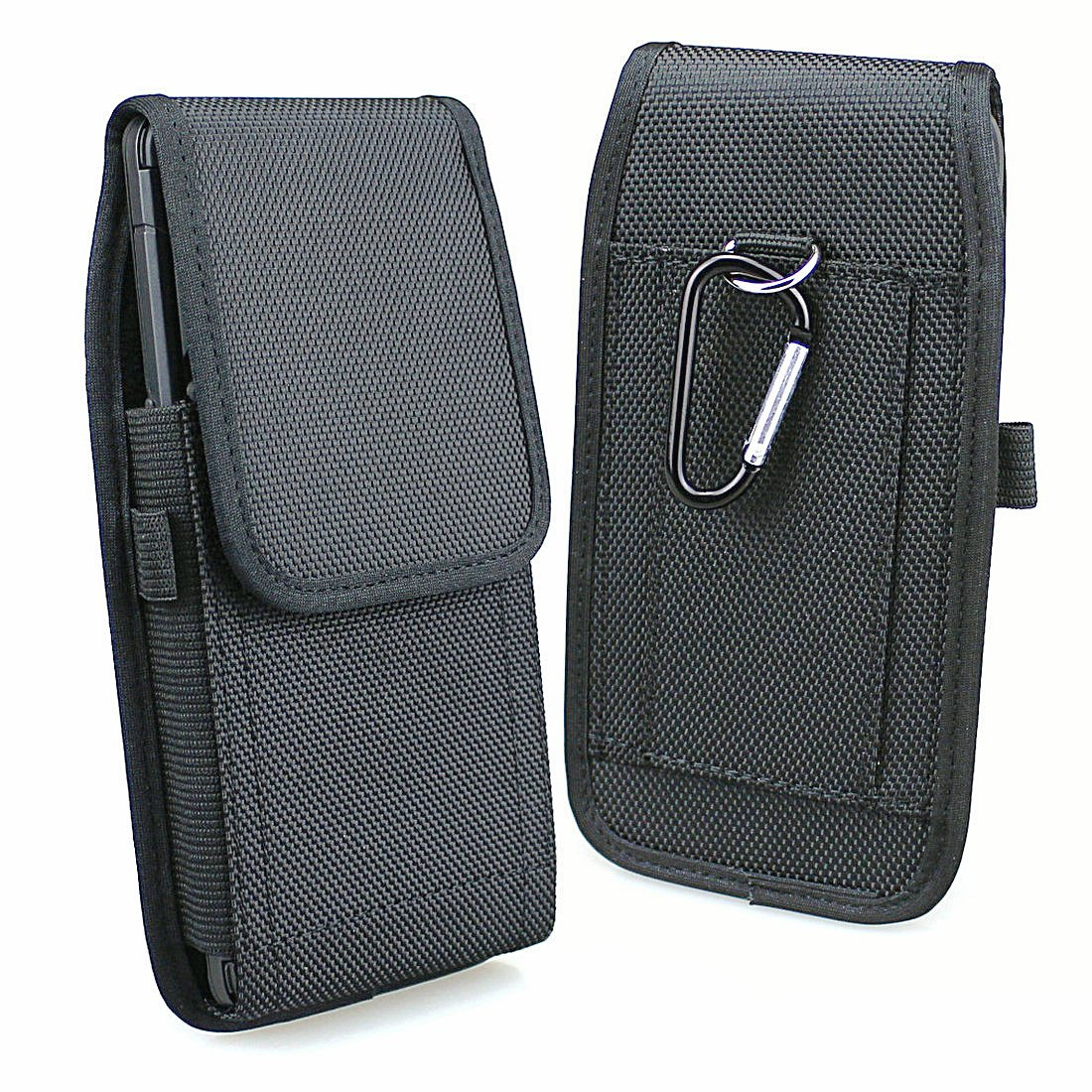 Aubaddy Vertical Nylon Phone Holster Pouch with Belt Loops for Samsung Galaxy Note 9, Note 8, Galaxy A9 Star, A9 Star Lite, S8 Plus, S9 Plus - Fit with a Slim Case (Black)