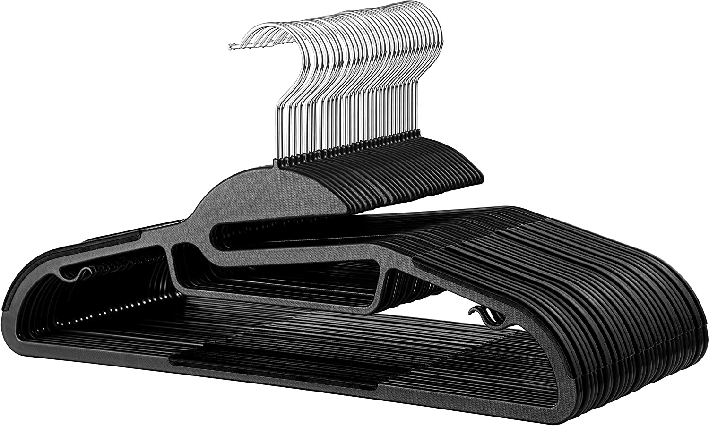 30 Pk Non Slip Pants Hanger 360/° Hook Ultra Thin Space Saving Suit Hanger Strap Hooks Non Slip Rubberized U-Slide Hanger Rubber Coated Plastic Hangers Strong /& Heavy Duty Plastic Coat Hanger