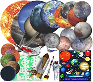 Glow in The Dark Planets and Stars for Ceiling Solar System Wall Stickers, All Glowing Planets Dwarf Exoplanets Pluto Moon Sun, 4 Rockets 1 Astronaut Birthday Christmas Gift