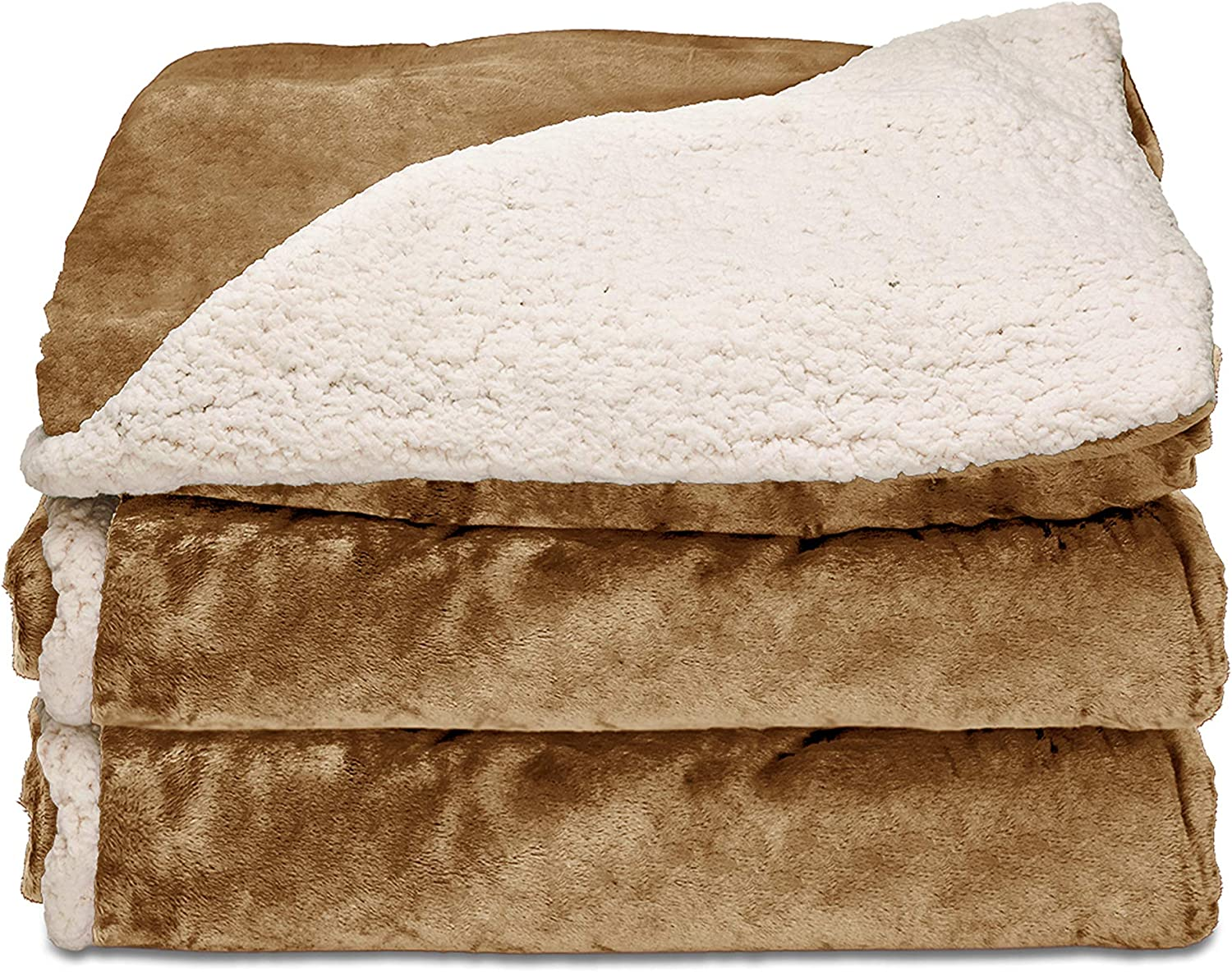 Sunbeam Heated Throw Blanket | Reversible Sherpa/Royal Mink, 3 Heat Settings