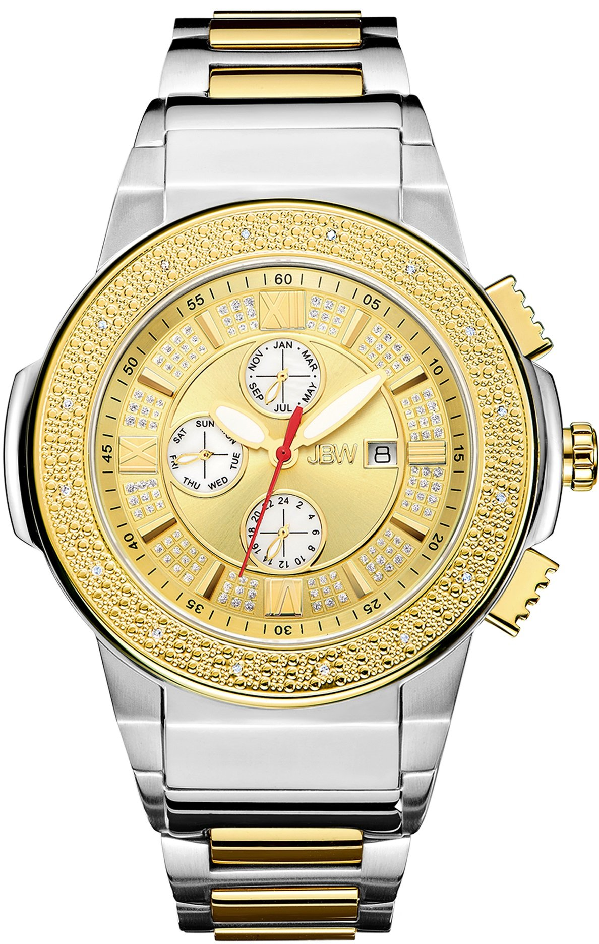 """Jbw Men's Jb-6101-L """"Saxon"""" Two Tone 18K Gold-Plated And Stainless Steel Diam.. 6"""