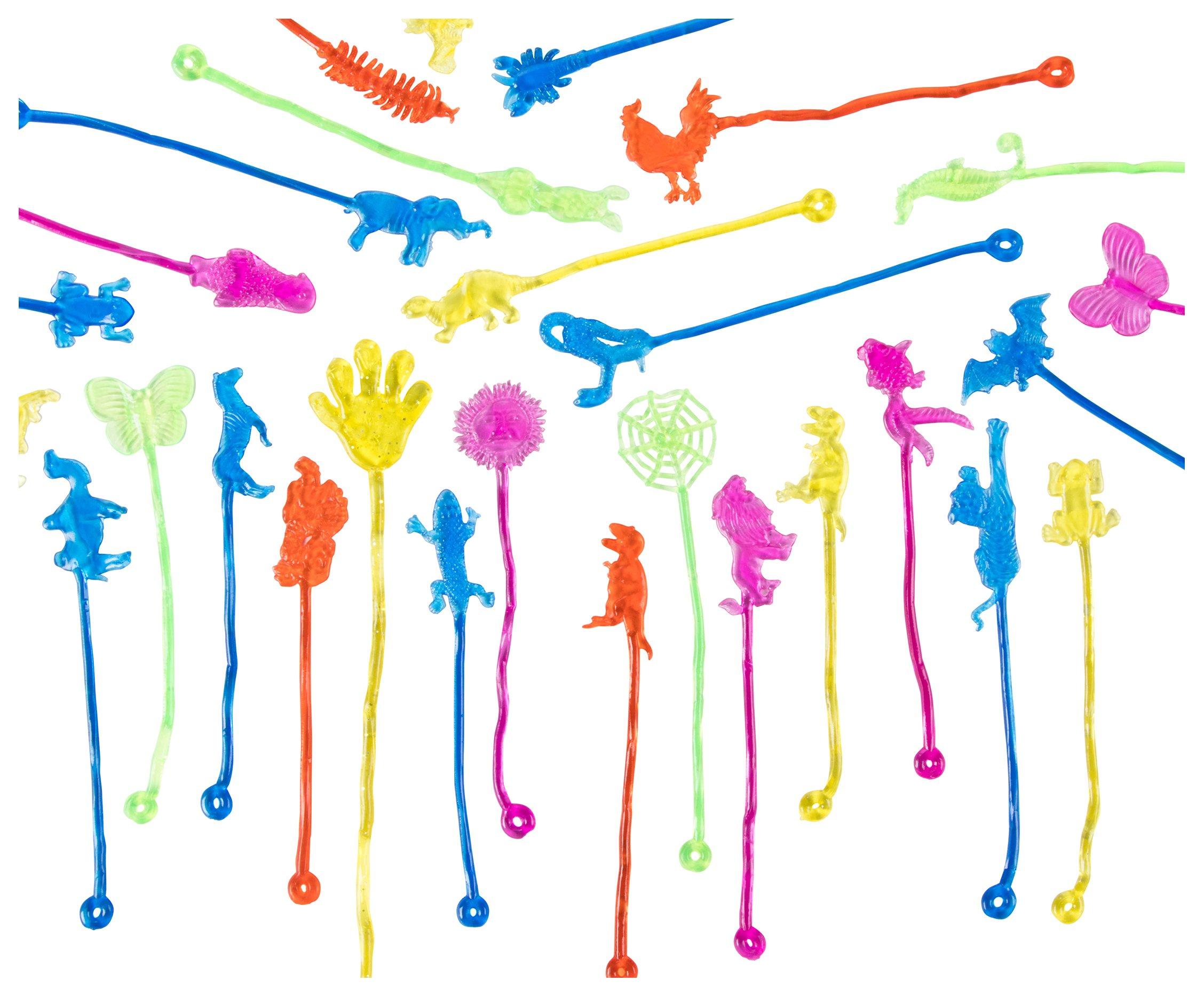 Sticky Toys - 100-Pack Stretchy Toys for Kids Birthday Party Favors, Carnival Prizes, Assorted Animal Shapes, Multicolored