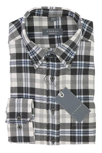 ETERNA Herren Flanell Hemd Comfort Fit mit Button-Down Kragen Gr. L Braun Blau
