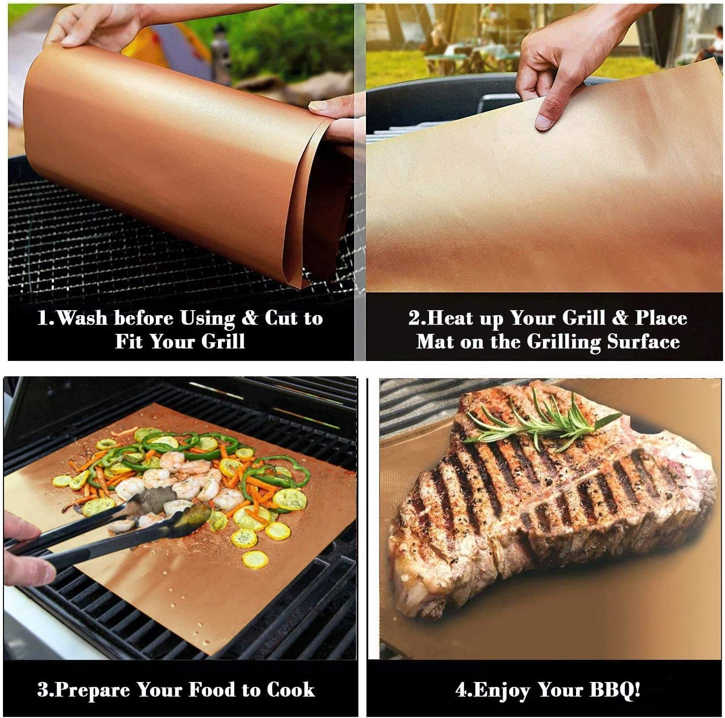 5Pcs Grill Mat Copper BBQ Grill Mat Baking Mat Set Non-Stick Reusable Copper Cooking Sheets for Gas Grills BBQ Cooking Baking Charcoal Outdoor Grill with 2 Silicone BBQ Brushes, 15.7*12.9 inch