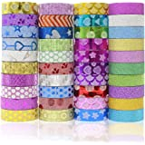 JUSLIN 40 Rolls Washi Tape, Great Crafts for DIY, Scrapbooking, Gift Box, Photo Album Decorations Versatile Tapes