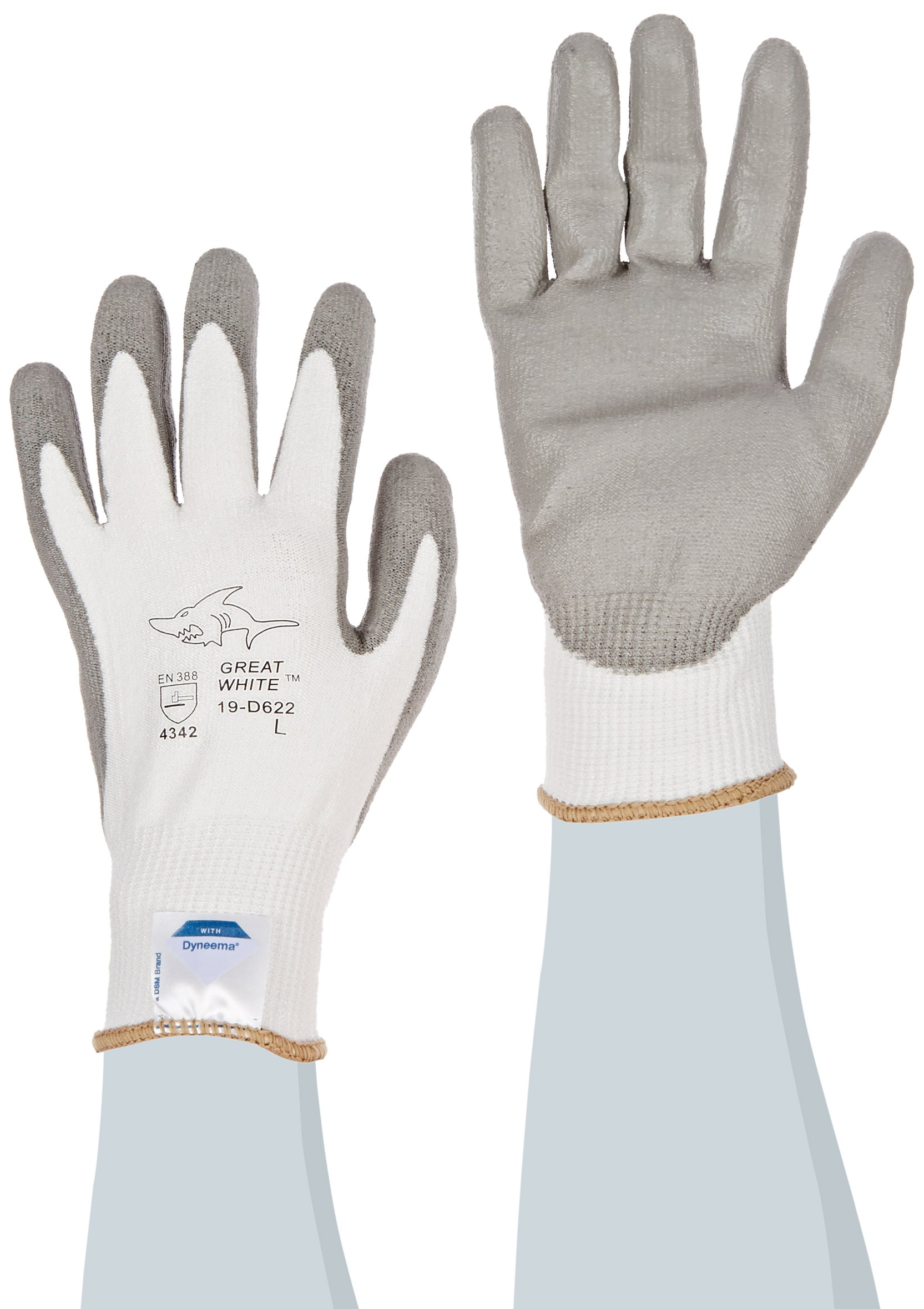 Great White 19-D622/L 13-Gauge  Dyneema/Lycra Cut Resistant Gloves with Polyurethane Coated Palm and Fingers, White/Gray, Large, 1-Dozen