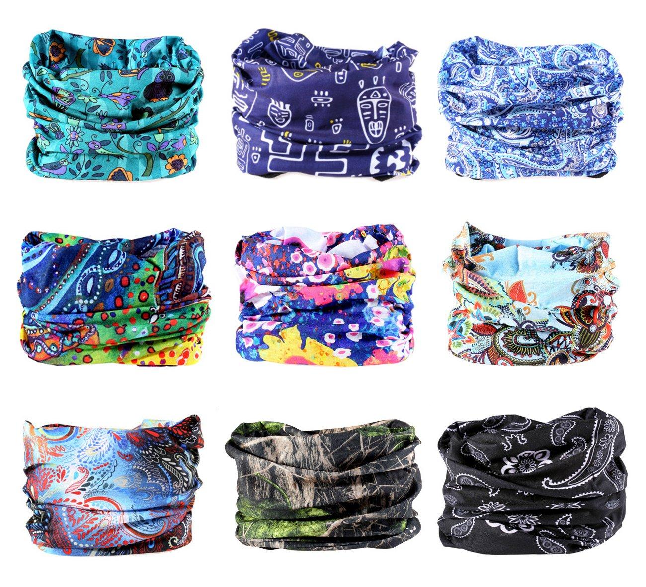 9PCS Outdoor Headscarves, Womens and Mens Headband Headwear (Turning)