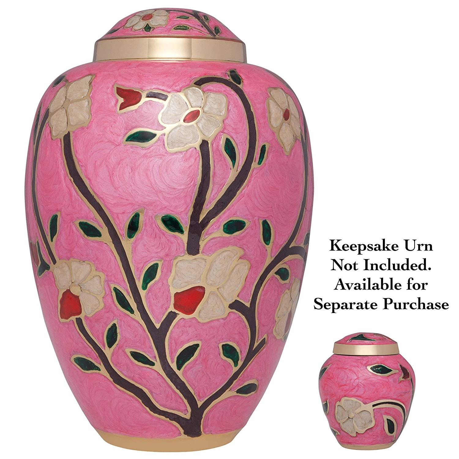 Liliane Memorials Rose Funeral Cremation Urn with enameled Flowers Pink Fleur Model in Brass for Human Ashes Suitable for Cemetery Burial Large Size Fits Remains of Adults up to 200 lbs Fleur/_Pink/_L
