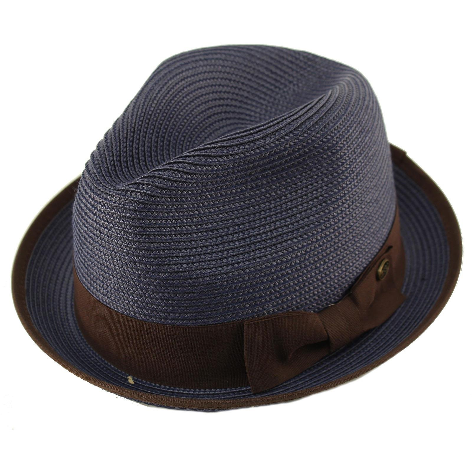 Epoch Men's Classy Travel Crushable 2tone Derby Fedora Upturn Curl Brim Hat L/XL Navy