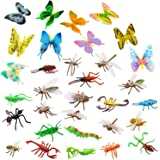 OOTSR Plastic Insects Bugs Figures[22-Pack] and Assorted Colorful Butterflies[12-Pack], 1''-4'' Simulated Insects Bugs Made o