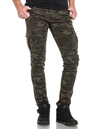 12ff6bfe9226 BLZ Jeans - Pantalon Jean Cargo nervuré Camouflage - Couleur  Vert - Taille   FR