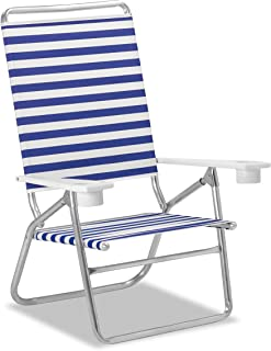 product image for Telescope Casual Striped Light and Easy High Boy Anodized Sliver Finish Chaise, Blue/White (M51113601)