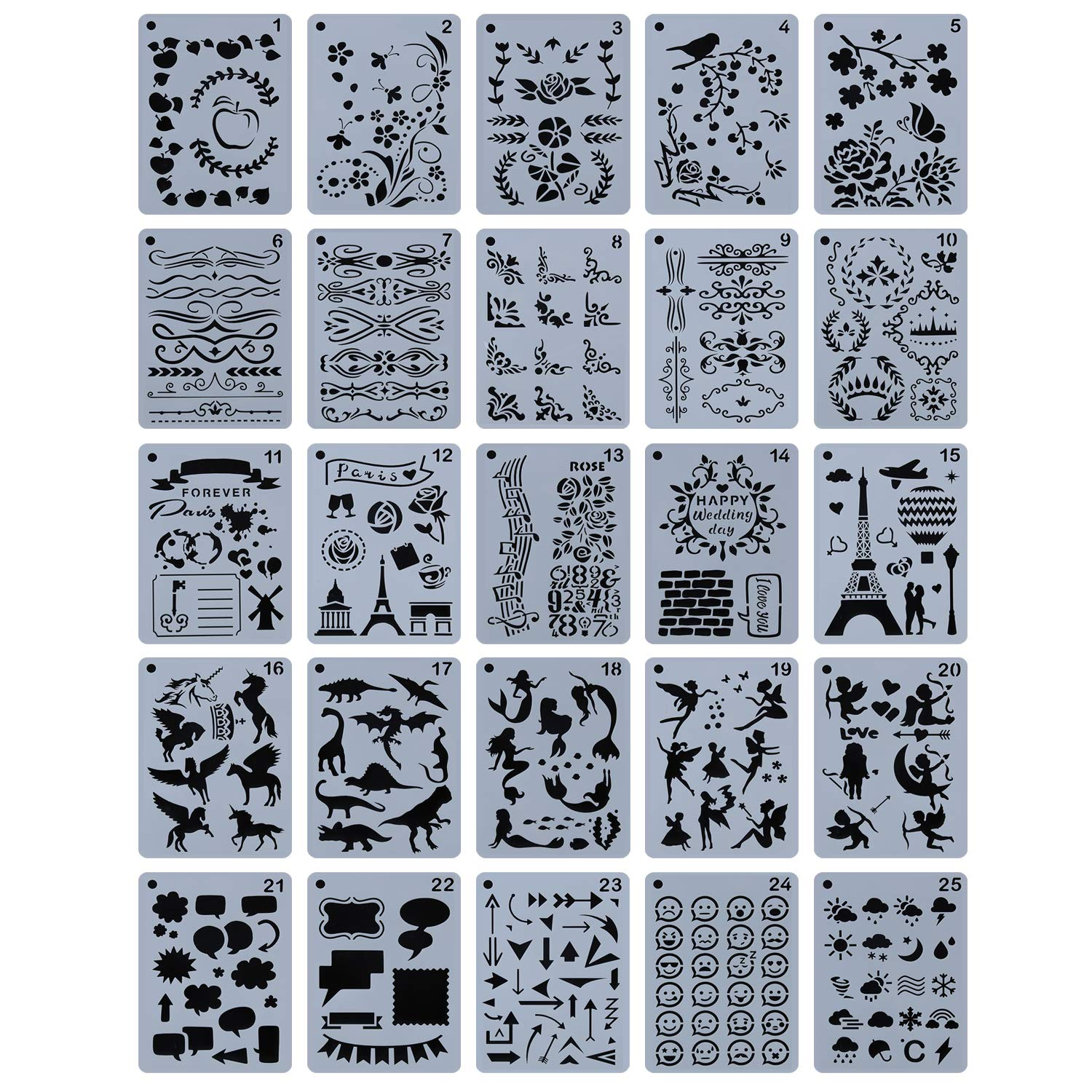 YUEAON 25-Pack 5'' x 7'' Journal Stencils Drawing Floral Template Stencil Supplies for DIY Bullet Scrapbook Notebook Dairy Planner Craft by YUEAON