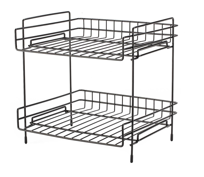 NEUN WELTEN Deep 2 Tier Kitchen Helper Shelf Rack with Large Storage Space 25.5L x 28W x 29H (Black) NEUN WELEN NW017B