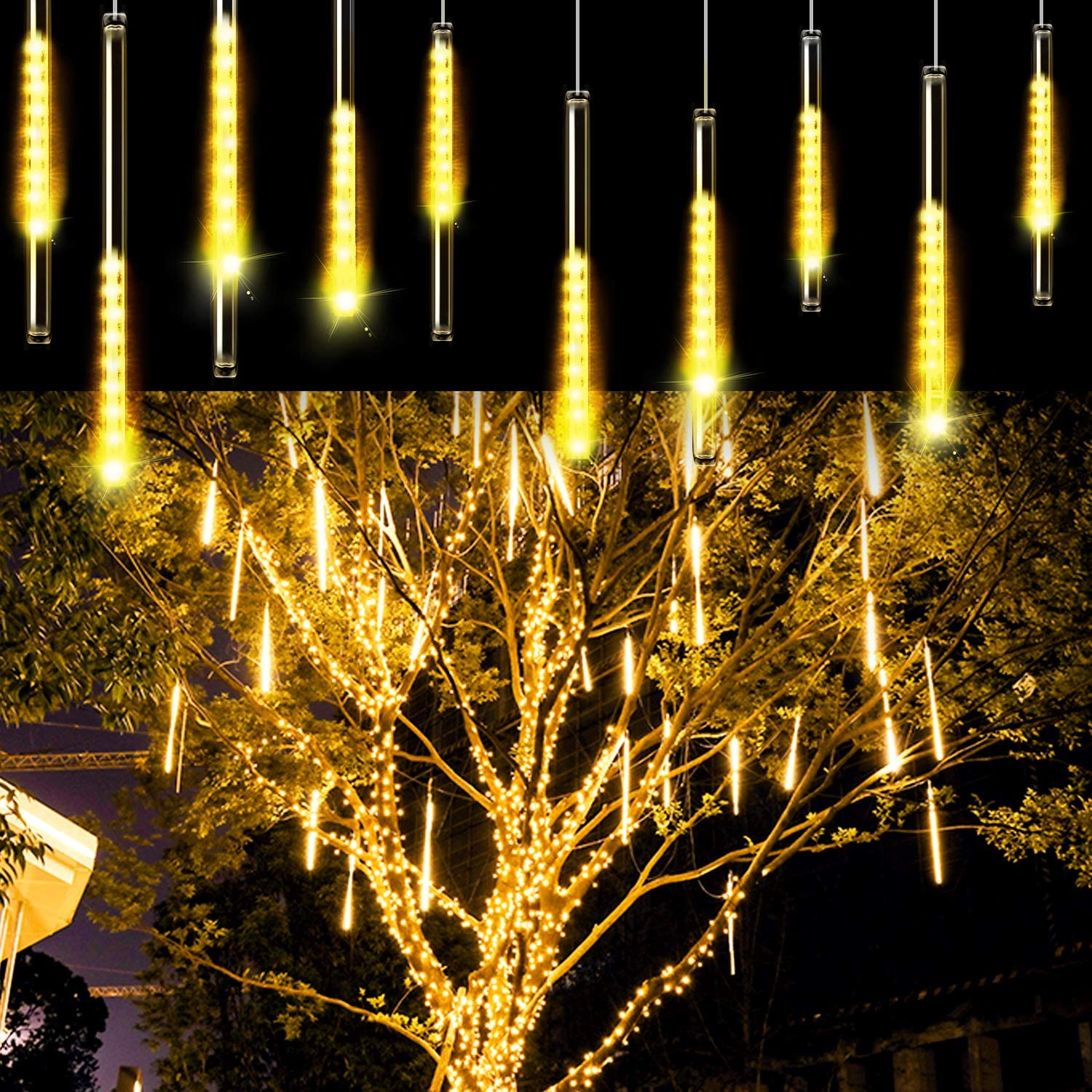 Aluan Christmas Lights Meteor Shower Rain Lights 10 Tube 240 LED Waterproof Plug in Falling Rain Fairy String Lights for Halloween Christmas Holiday Party Home Patio Outdoor Decoration, Warm White