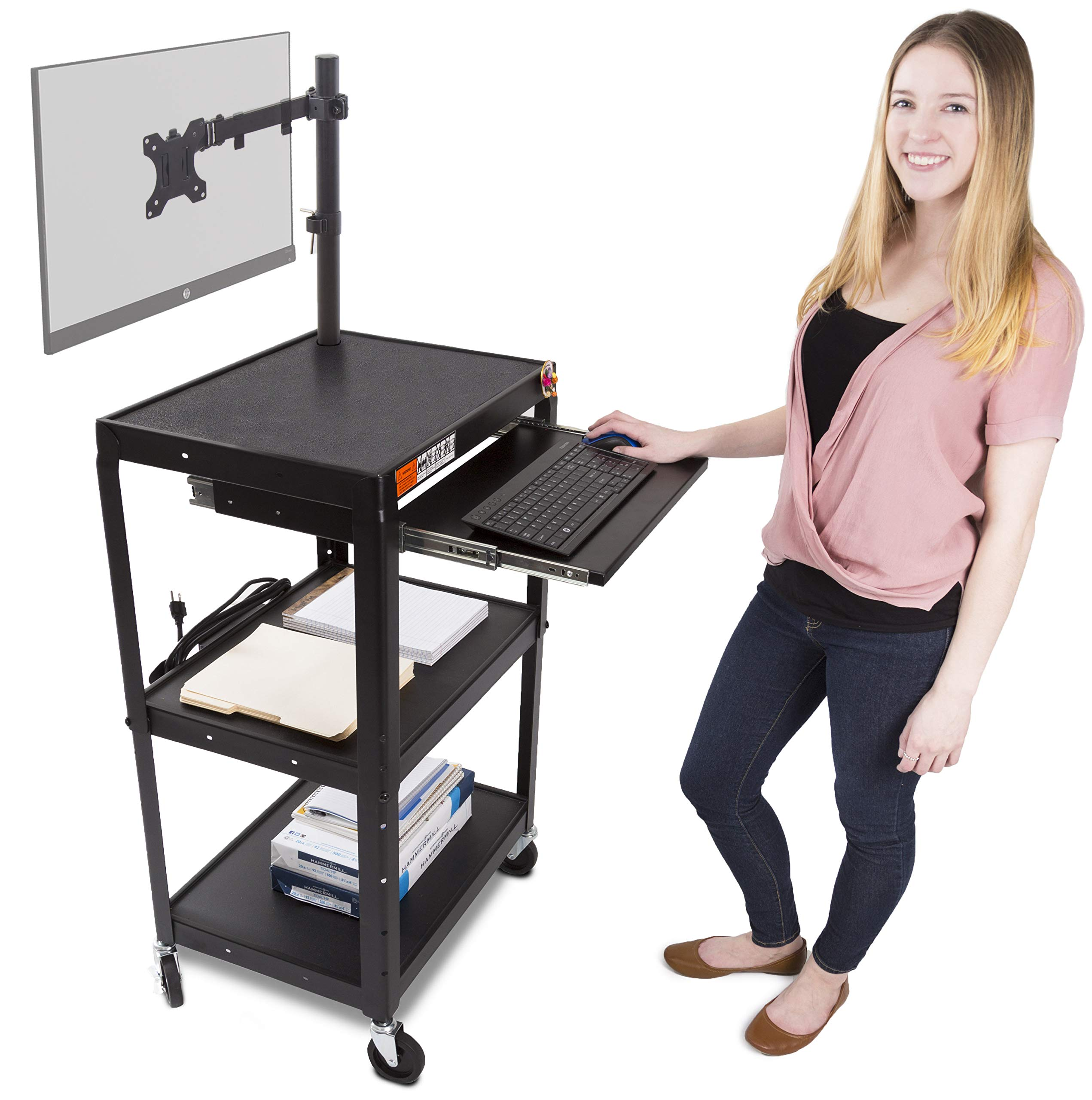 Line Leader AV Cart with Keyboard Tray and Monitor Mount | Mobile Workstation/Presentation Cart with Monitor Arm | Take Your Office On-The-Go with Our Stand Up Computer Cart! (Black / 24'' x 18'')
