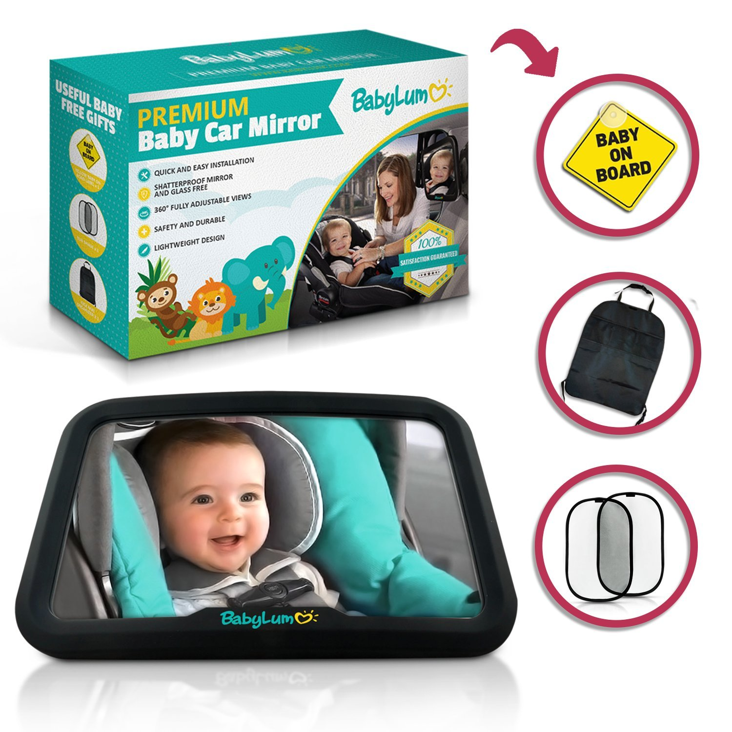 BabyLum Baby Backseat Car Mirror - View Infant in Rear Facing Carseat, Crash Safe, Crystal Clear Large Shatterproof Mirror, Include 1 Baby On Board Sign, Kick Mat, 2 Sun Shades