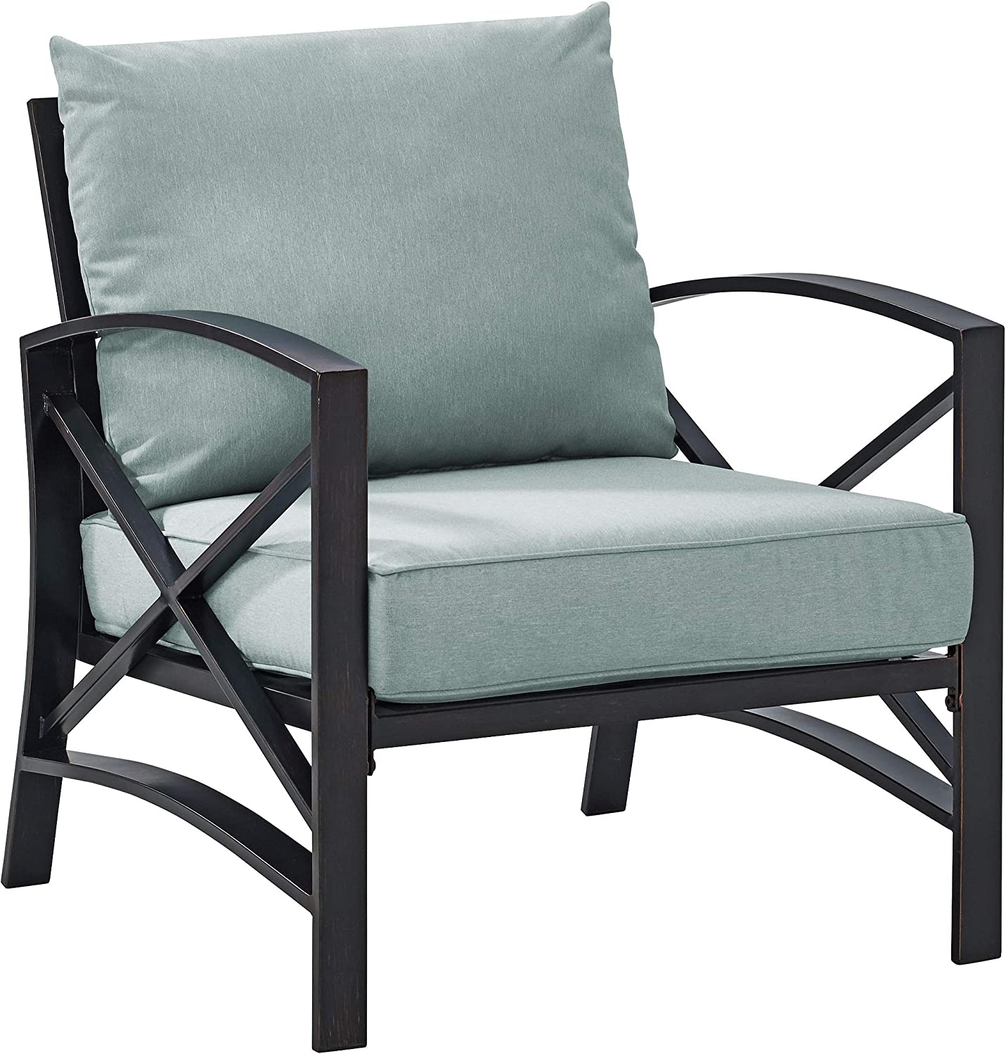 Crosley Furniture KO60007BZ-MI Kaplan Outdoor Metal Arm Chair, Oiled Bronze with Mist Cushions