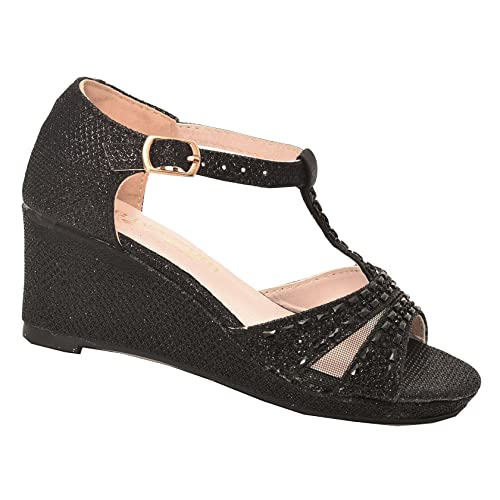 128c249d90a6 Amazon.com  De Blossom Girls Black Stone Encrusted T-Bar Wedge Heel ...