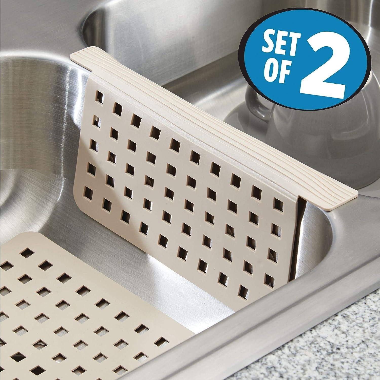 mDesign Juego de 2 accesorios para cocina - Incluye un protector de  fregadero y una rejilla para fregadero para evitar arañazos en fregaderos  dobles ... f6cd1fcd4176