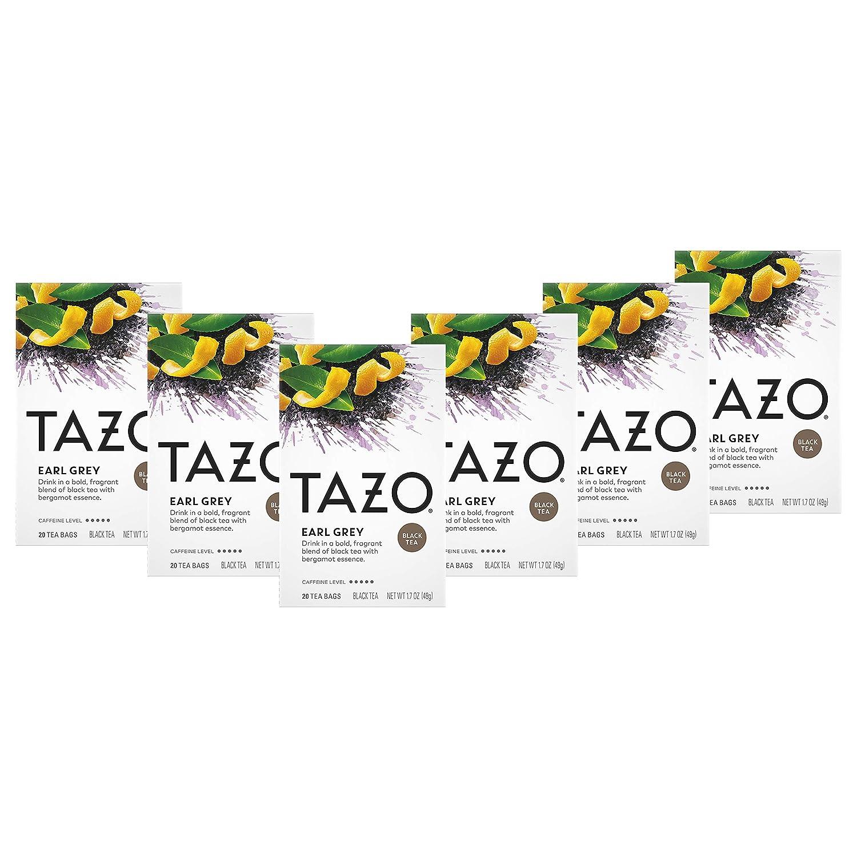 Tazo Black Tea Tea Bags For a Delicious Beverage Earl Grey High Caffeine Level 20 Tea Bags 6Ct