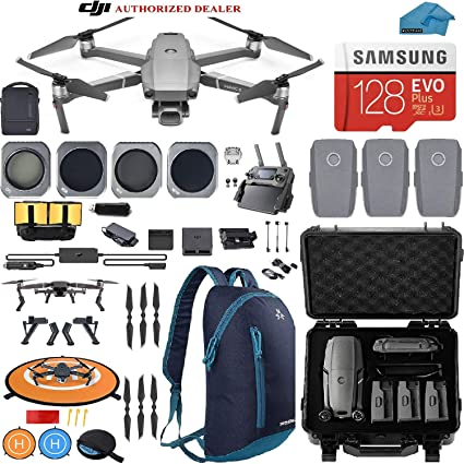 DJI Mavic 2 PRO Drone Quadcopter Fly More Combo, with 3 Batteries Hard Case  Backpack and ND, CPL Lens Filters, 128GB SD Card with Hasselblad Video