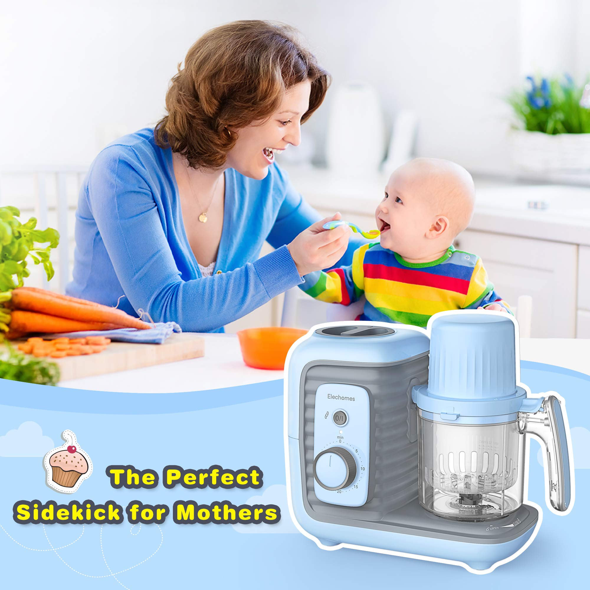 Elechomes Baby Food Maker Processor, Double Steam Basket Cooker with Timer, Blender, Steamer for Baby Infants Toddlers Food by Elechomes (Image #6)