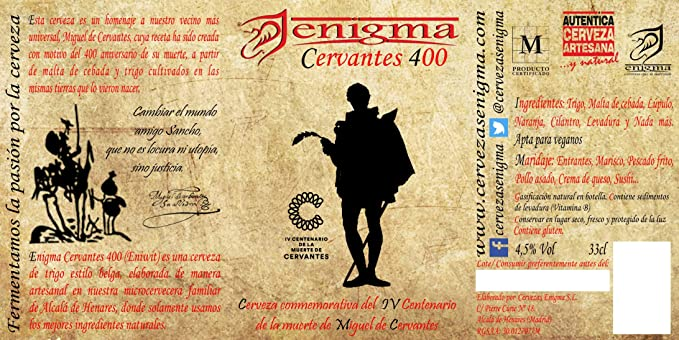 Cervezas Enigma - Cervantes 400-6 botellas x 0,33 L: Amazon.es ...