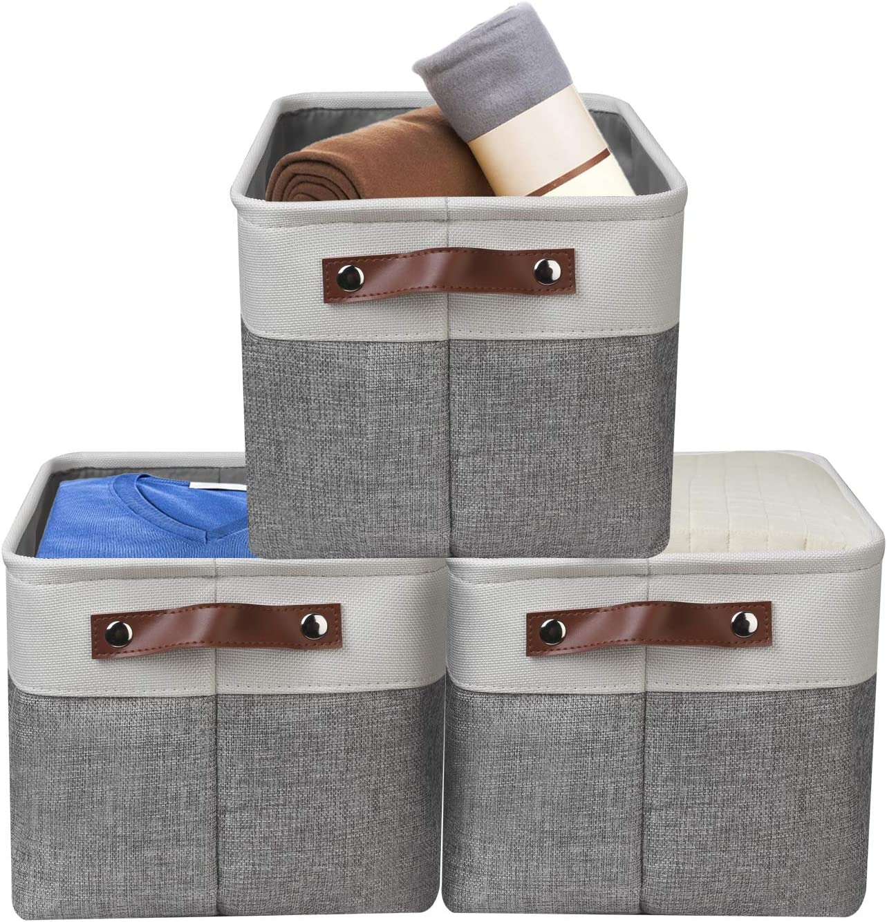 Awekris Foldable Storage Bins Storage Basket Set [3-Pack] Fabric Collapsible Organizer Cubes with Handles for Organizing Shelf Nursery Home Closet and Office (Grey)
