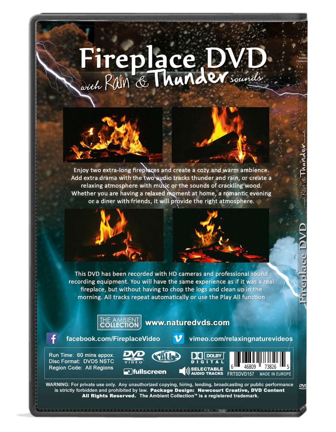 amazon com fire dvd fireplace with rain and thunder sounds the
