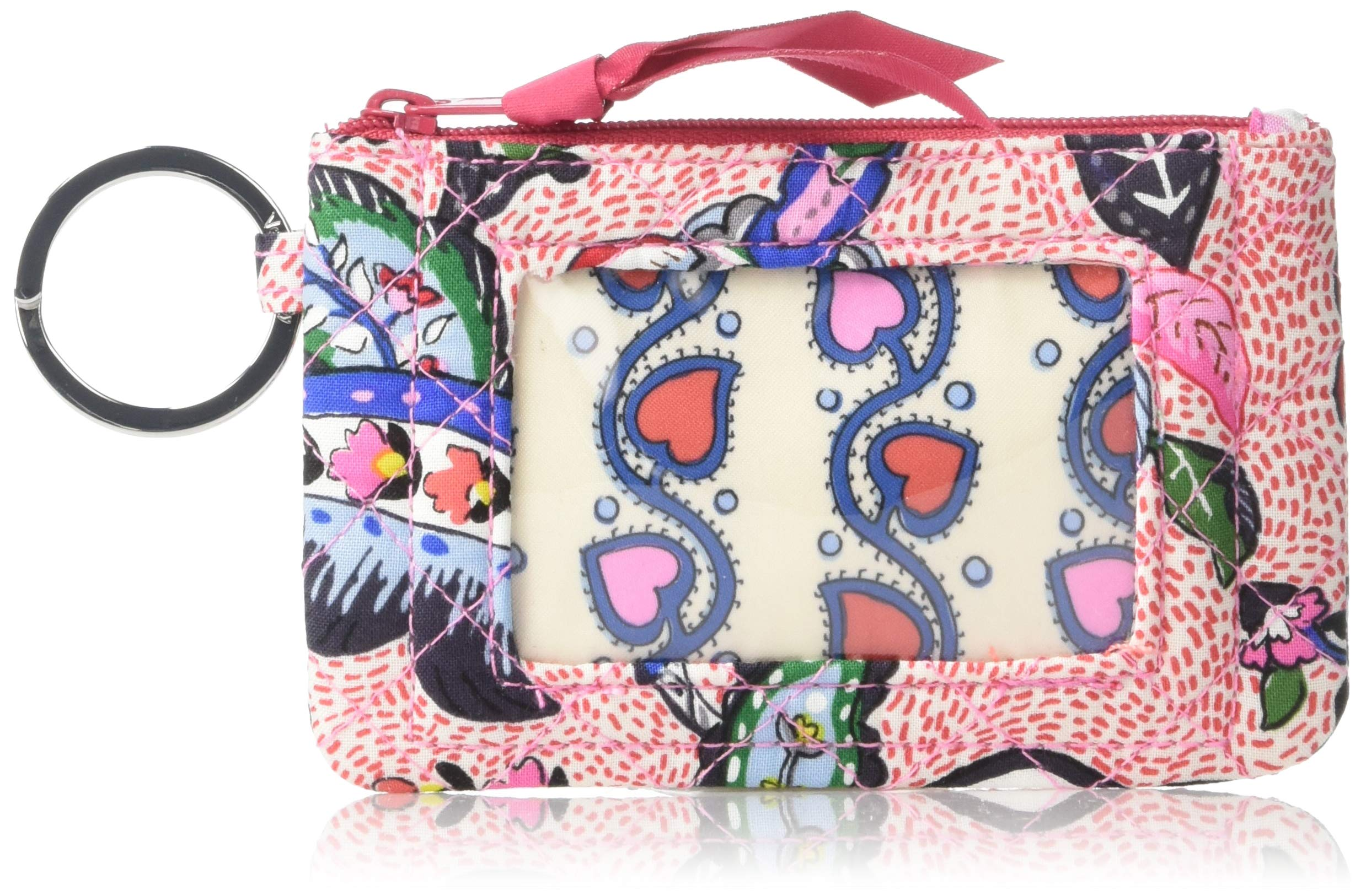 Vera Bradley womens Iconic Zip ID Case, Signature Cotton, stitched Flowers, One Size