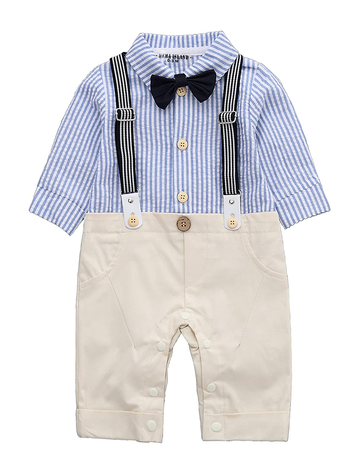 98faaa8ce HMD Baby Boy Gentleman Blue Stripe Shirt Bowtie Tuxedo Onesie Jumpsuit  Overall Romper(0-18M) Be made of high quality cotton, it\'s super soft and  ...