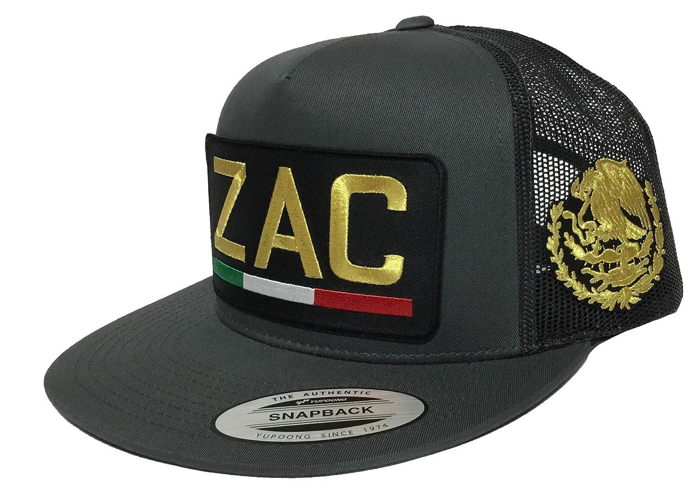 Mexico Zacatecas {Zac} All Gold 2 Logos Hat Dark Gray mesh
