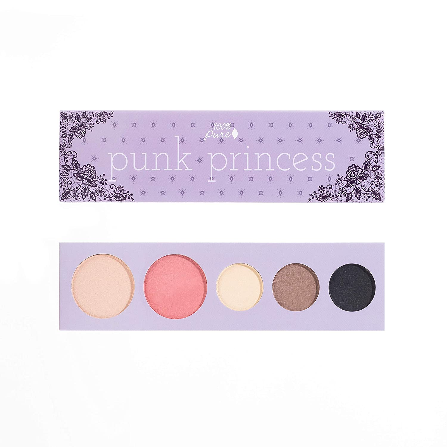 100% PURE Punk Princess Palette (Fruit Pigmented), Bold, Edgy Makeup Palette w/ 3 Eyeshadows, Blush, Face Highlighter, Natural, Vegan Makeup (Soft, Smokey, Shimmery Tones)