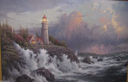 Amazon com: Conquering The Storms by Thomas Kinkade: Paintings