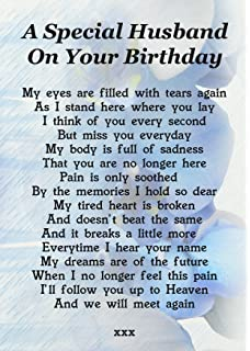 A Special Husband On Your Birthday Memorial Graveside Poem Keepsake Card Includes Free