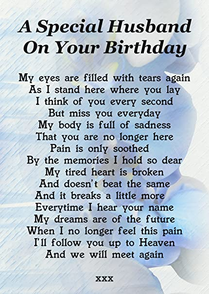 A Special Husband On Your Birthday Memorial Graveside Poem Keepsake