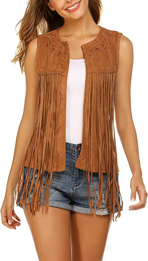 60s Shirts, T-shirts, Blouses, Hippie Shirts Hotouch Women Fringe Vest Faux Suede Tassels 70s Hippie Clothes Open-Front Sleeveless Vest Cardigan Female $27.99 AT vintagedancer.com