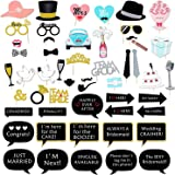 Halcent Funny Wedding Photo Booth Props DIY Bridal Shower Photo Booth Props Bachelorette Party Decoration Girls Night Out Costume Dress-up Accessories with Strike a Pose Sign (52 Pcs)
