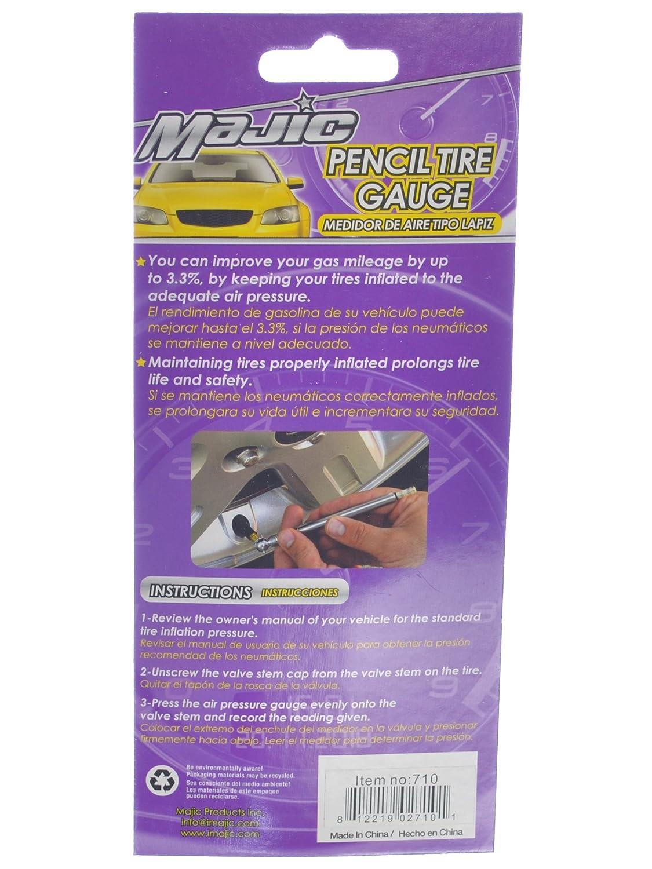 Amazon.com: Majic Manual Dial Pencil Style Tire Pressure Gauge 10-50 PSI + FREE Set of 4 Plastic Valve Caps: Automotive