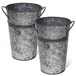 Arbor Lane Rustic Metal Flower Vase - 8 Inch - French Bucket, Farmhouse Style - Set of 2 (Charcoal)