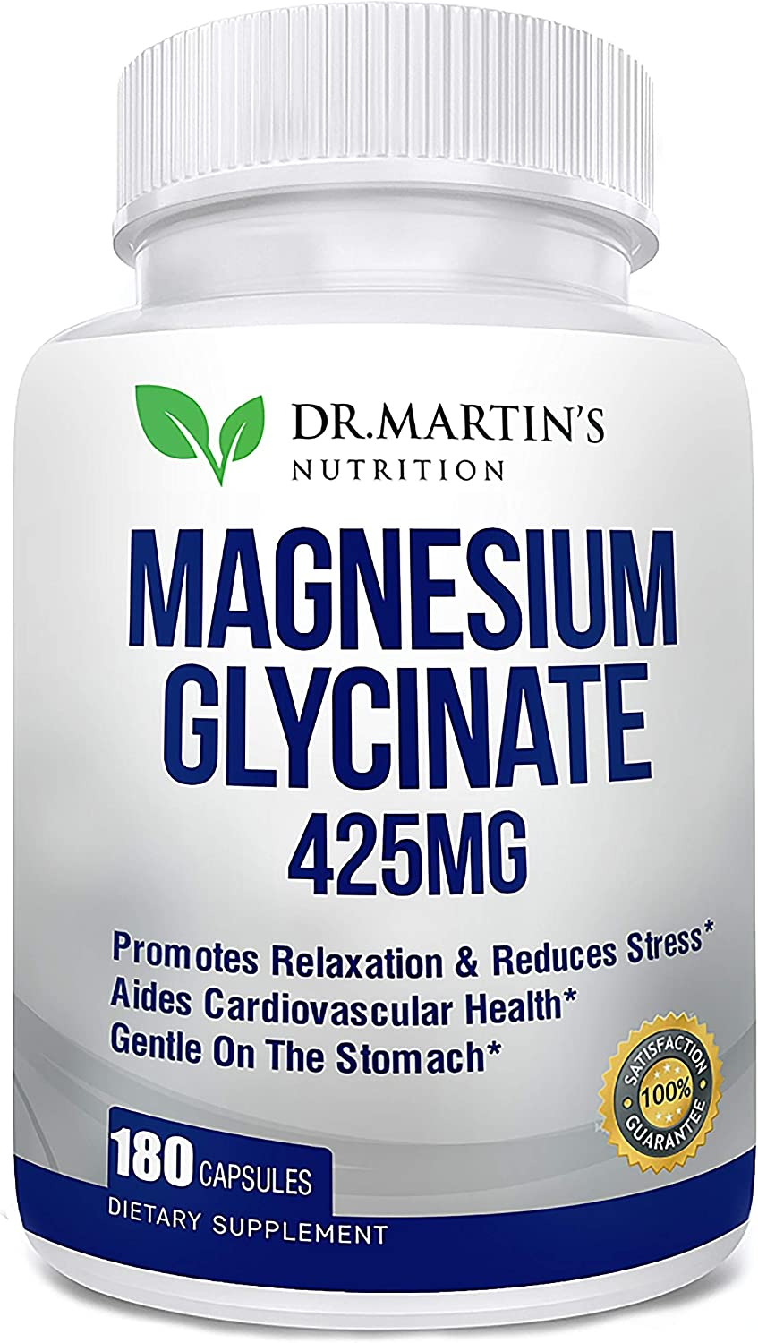 Premium Magnesium Glycinate 425mg - 180 High Potency Vegan Capsules - Helps with Stress Relief, Sleep, Migraines, Muscle Cramps & Healthy Heart | Non-GMO, Gluten Free