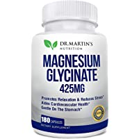 Premium Magnesium Glycinate 425mg - 180 Vegan Capsules - Helps with Stress Relief, Sleep, Muscle Cramps & Healthy Heart…