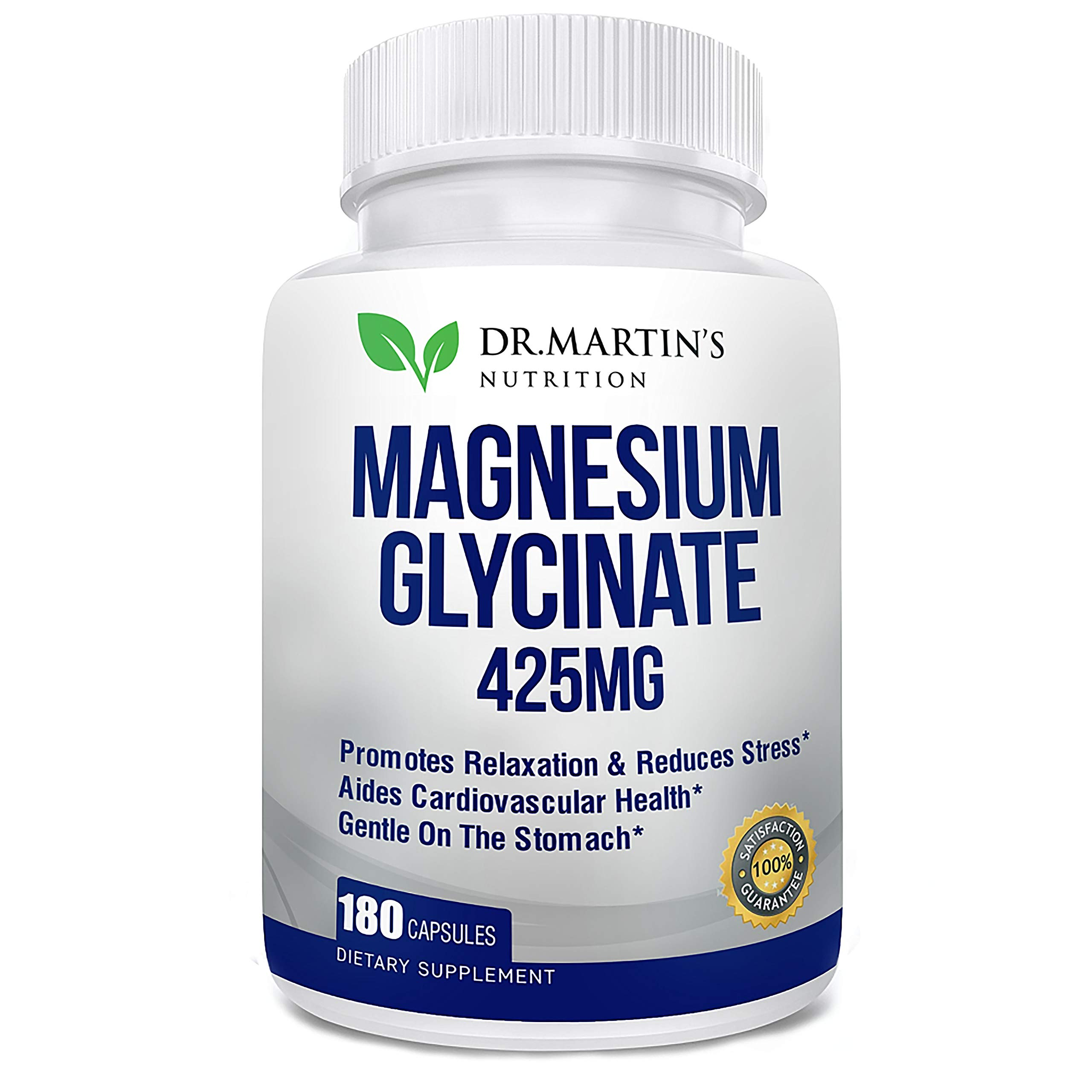 Premium Magnesium Glycinate 425mg - 180 Vegan Capsules - Helps with Stress Relief, Sleep, Muscle Cramps & Healthy Heart |