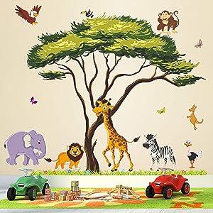RW-1074 Cartoon Jungle Animal Wall Decals 3D Large Green Tree Wall Stickers DIY Removable Giraffe Lion Elephant Grass Wall Art Decor for Kids Baby Bedroom Living Room Nursery Playroom Home Decoration