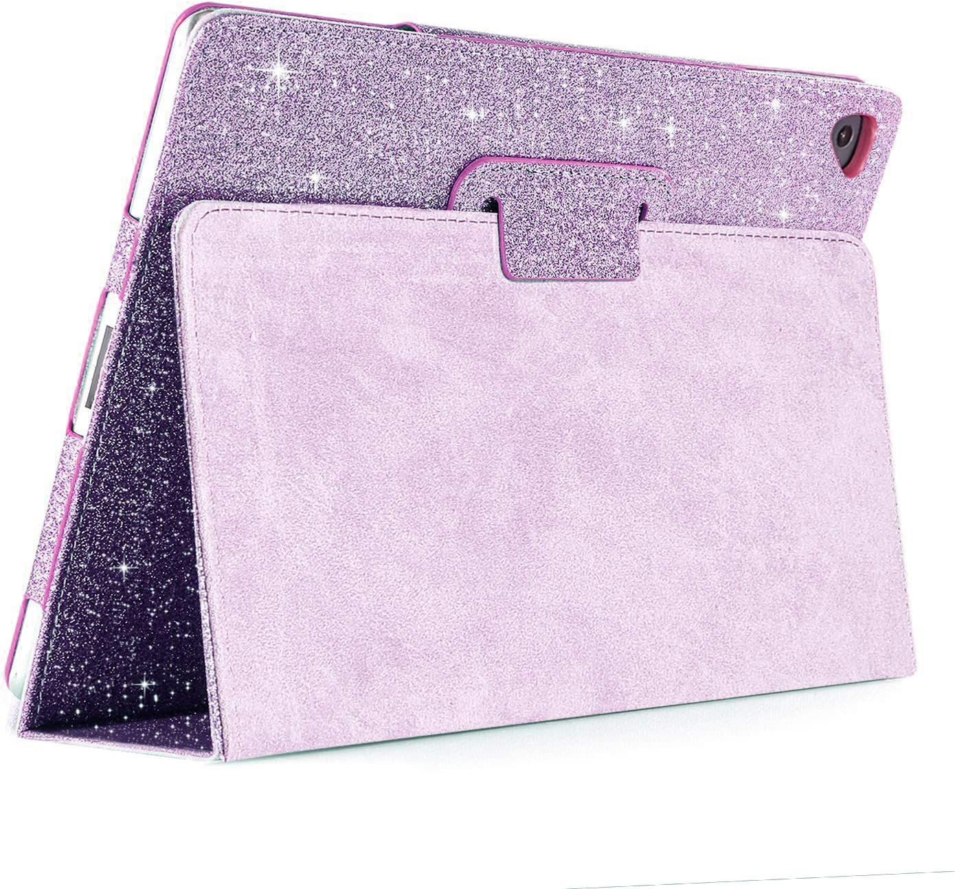 iPad Air/Air2/Pro 9.7 2017 Glitter Case,FANSONG Bling Sparkle PU Leather Smart Cover [Flip Stand Function] [Auto Sleep/Wake] Universal Case for Apple iPad Air/Air2/Pro 9.7 2017 (Bling Light Purple)