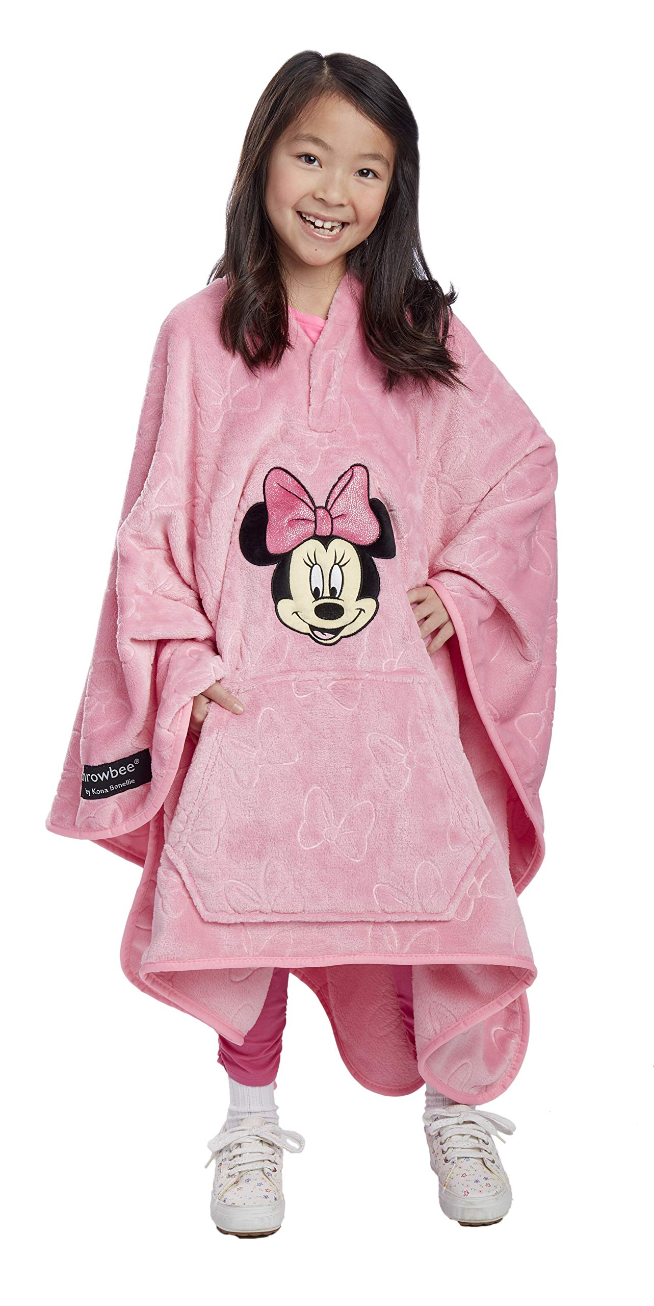 Jay Franco Disney Minnie Mouse Bows Throwbee - 2-in-1 Wearable Kids Plush Throw Blanket Poncho - Fade Resistant Polyester, 50'' x 60'' - (Offical Disney Product) by Jay Franco