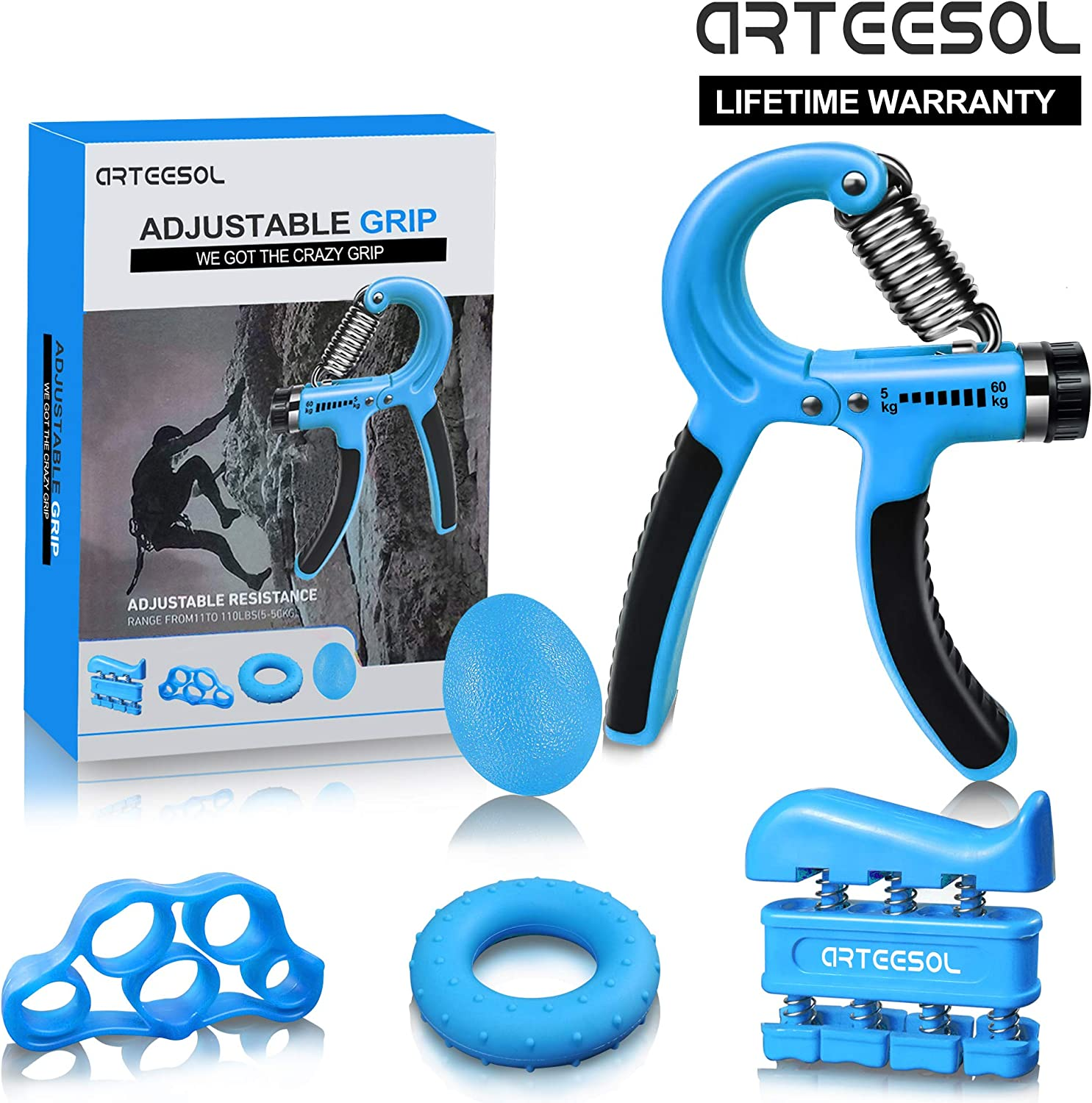 Grip Strength Forearm Trainer Hand Grip Strengthener Hand Arm Grip Workout Fitness Strength Trainer Adjustable Resistance Hand Exerciser Gripper Power Training Carpal Expander