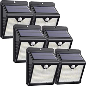 Solar Lights Outdoor 150 LED, Solar Motion Sensor Lights with 120° Wide-Angle Detection Wireless Waterproof Bright Solar Security Lights for Garden Patio Yard Deck Fence (6 Pack)