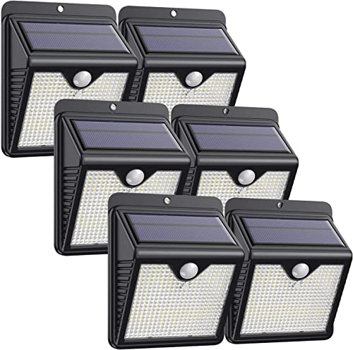 Solar Lights Outdoor 150 LED, Solar Motion Sensor Lights with 120 Wide-Angle Detection Wireless Waterproof Bright Solar Security Lights for Garden Patio Yard Deck Fence 6 Pack